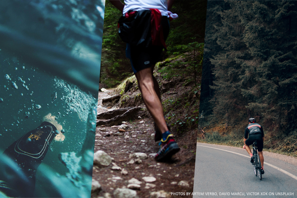 Montage med tre bilder för simning, löpning och cykling.